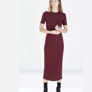 ZARA TRF Knit Ribbed Dress Midi Short Sleeve